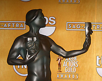 LOS ANGELES - JAN 27:  The Actor - official Screen Actors Guild statue in the press room at the 2013 Screen Actor's Guild Awards at the Shrine Auditorium on January 27, 2013 in Los Angeles, CA