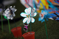 Pictured: Flower decorations Saturday 13 August 2016<br /> Re: Grow Wild event at  Furnace to Flowers site in Ebbw Vale, Wales, UK