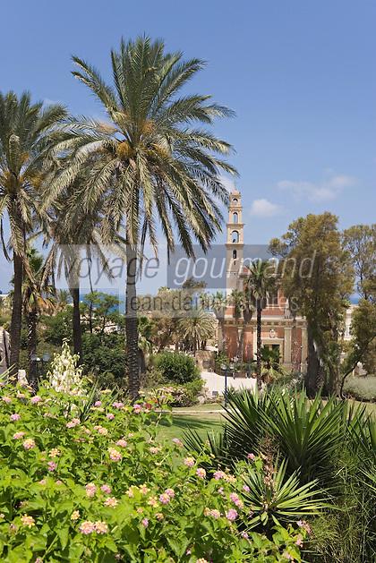 Asie/Israel/Tel-Aviv-Jaffa: Eglise et Couvent Saint-Pierre Style baroque latino américain vu depuis le jardin Gan Ha-Pisga situé sur la colline de Jaffa