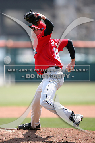 April 25, 2009:  Pitcher Tyler Clippard of the Syracuse Chiefs, International League Class-AAA affiliate of the Washington Nationals, delivers a pitch during a game at the Coca-Cola Field in Buffalo, NY.  Photo by:  Mike Janes/Four Seam Images