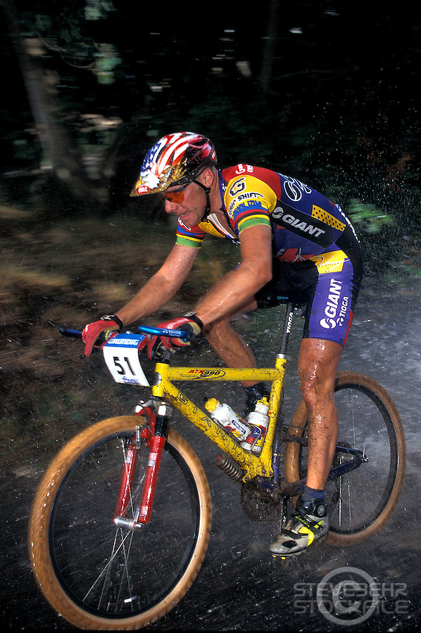 John Tomac team Giant Grundig World Cup .Plymouth , Devon  1995/6? .pic copyright Steve Behr / Stockfile