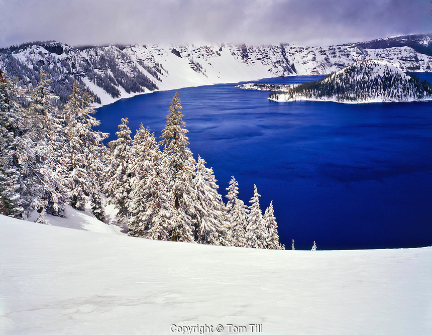 Crater Lake and Wizard Island in Winter, Crater Lake National Park, Oregon  Cascade Mountains  Crater of Mount Mazama erupted 8,000 years afo