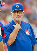 Chicago Cubs manager Joe Maddon (70) on the mound during one of his pitching changes in the tenth inning against the Washington Nationals at Nationals Park in Washington, D.C. on Wednesday, June 15, 2016.  The Nationals won the game 5 - 4 in 12 innings.<br /> Credit: Ron Sachs / CNP