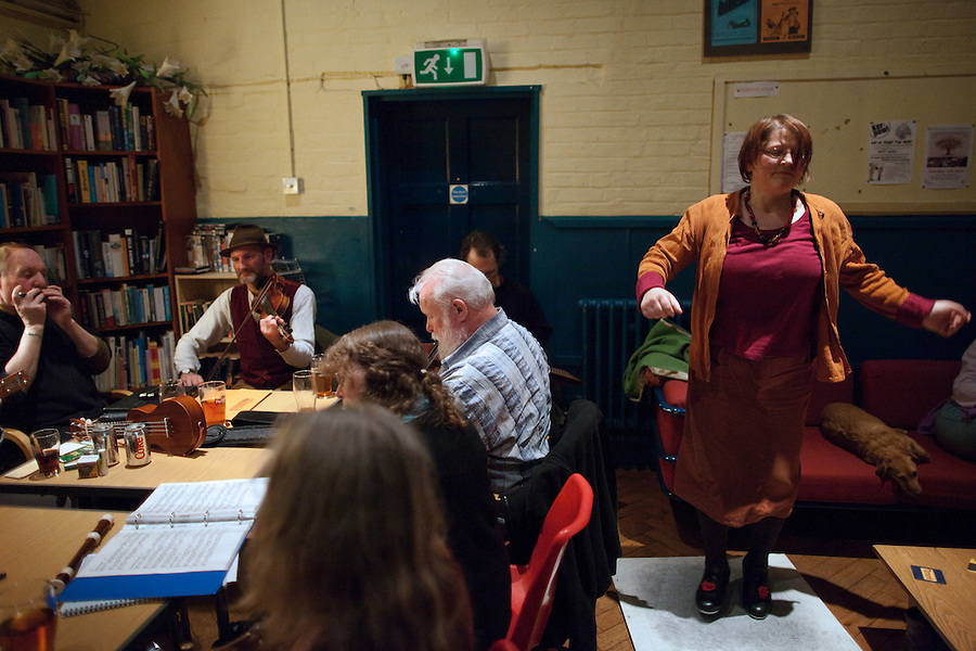 Hindolveston, Norfolk, England, 25/03/2011..Step dancing to Rig-a-Jig-Jig, a band of Norfolk musicians who play traditional music connected with the county, at a Friday night gig in Hindolveston village hall.