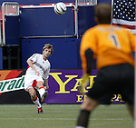17 April 2004: MetroStars keeper Jonny Walker (1) watches as Bobby Convey (left) sends a cross into the box in the second half. The MetroStars defeated DC United 3-2 at Giants Stadium in East Rutherford, NJ during a regular season Major League Soccer game..