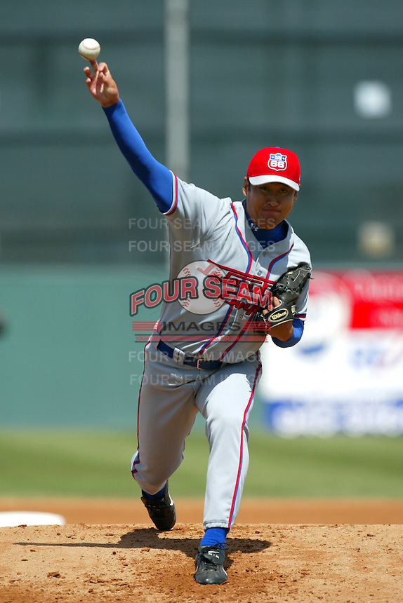 Cha Seung Baek of the Inland Empire 66ers pitches during a game against the Lancaster JetHawks at The Hanger on April 6, 2003 in Lancaster, California. (Larry Goren/Four Seam Images)