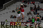 Ronan Collins in action against Jack Lawton Cork during the Munster Minor Football Final between Kerry and Cork at Pairc Ui Chaoimh, Cork on Saturday night.