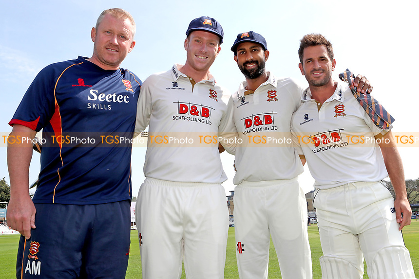 Simon Harmer (2nd L) and Varun Chopra with their County Caps alongside Head Coach Anthony McGrath (L) and skipper Ryan ten Doeschate (R) during Essex CCC vs Lancashire CCC, Specsavers County Championship Division 1 Cricket at The Cloudfm County Ground on 21st April 2018