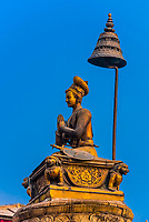 The statue of King Bhupatindra Malla, Durbar Square, Bhaktapur, Kathmandu Valley, Nepal.