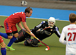 Mannheim, Germany, October 17: During the 1. Bundesliga Herren hockey match between Mannheimer HC (red) and Rot-Weiss Koeln (white) on October 17, 2015 at Arena in Mannheim, Germany. Final score 3-3 (HT 2-1). (Photo by Dirk Markgraf / www.265-images.com) *** Local caption *** Jonatan Ehling #9 of Mannheimer HC, Victor Aly #30 of Rot-Weiss Koeln