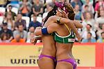 31.05.2015, Moskau, Vodny Stadion<br /> Moskau Grand Slam, Main Draw / Finale<br /> <br /> Jubel Talita Antunes (#2 BRA), Larissa Franca (#1 BRA)<br /> <br />   Foto &copy; nordphoto / Kurth