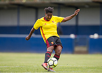 Cherrelle 'Chez' Albert of Watford Ladies hits a shot which rebounds off the crossbar during the pre season friendly match between Stevenage Ladies FC and Watford Ladies at The County Ground, Letchworth Garden City, England on 16 July 2017. Photo by Andy Rowland / PRiME Media Images.