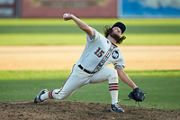 High Point-Thomasville HiToms relief pitcher KJ Wells Jr. (15) (Louisburg Community College) in action against the Martinsville Mustangs at Finch Field on July 26, 2020 in Thomasville, NC.  The HiToms defeated the Mustangs 8-5. (Brian Westerholt/Four Seam Images)