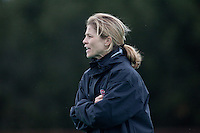 STANFORD, CA - November3, 2011: Head Coach Tara Danielson during the Stanford vs. Appalachian State opener of  the  NorPac Championship at the Varsity Turf on the Stanford campus Thursday afternoon.<br /> <br /> Stanford defeated Appalachian State 7-0.