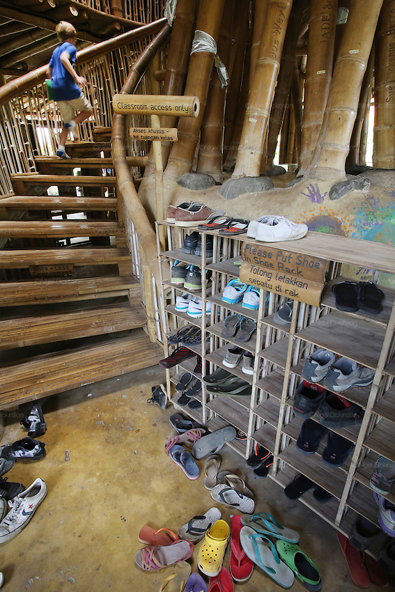 "Shoes off when going upstairs in ""Heart of School""<br />