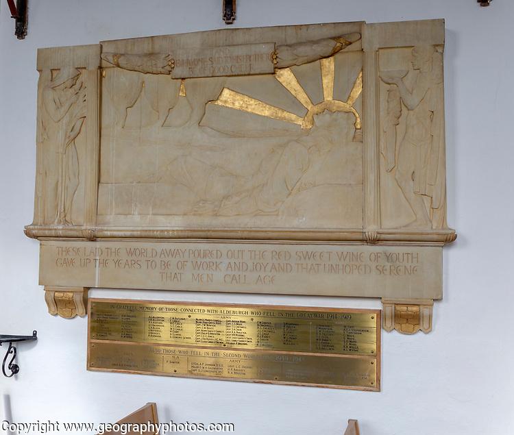 War memorial monument church of Saint Peter and Saint Paul, Aldeburgh, Suffolk, England, UK