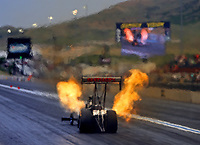 Jul 21, 2017; Morrison, CO, USA; NHRA top fuel driver Gregory Carrillo during qualifying for the Mile High Nationals at Bandimere Speedway. Mandatory Credit: Mark J. Rebilas-USA TODAY Sports
