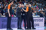 Real Madrid coach Pablo Laso and Valencia Basket coach Txus Vidorreta talking with the referee team during Turkish Airlines Euroleague match between Real Madrid and Valencia Basket at Wizink Center in Madrid, Spain. December 19, 2017. (ALTERPHOTOS/Borja B.Hojas)