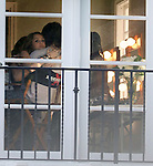 AbilityFilms@yahoo.com.805-427-3519.www.AbilityFilms.com...5-10-09 Exclusive .Miley Cyrus hugging and kissing her boyfriend Justin Gaston during a break for her photoshoot Xpendable at a house in Beverly Hills ca