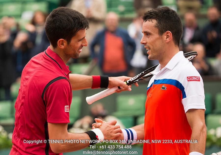 NOVAK DJOKOVIC (SRB), ROBERTO BAUTISTA AGUT (ESP)<br /> <br /> TENNIS - FRENCH OPEN - ROLAND GARROS - ATP - WTA - ITF - GRAND SLAM - CHAMPIONSHIPS - PARIS - FRANCE - 2016  <br /> <br /> <br /> <br /> &copy; TENNIS PHOTO NETWORK