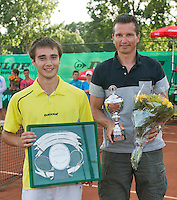 August 9, 2014, Netherlands, Rotterdam, TV Victoria, Tennis, National Junior Championships, NJK,  Prize giving, Richard Krajicek with Guy den Heijer, winner boys 18 years <br /> Photo: Tennisimages/Henk Koster