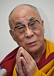 April 29th, 2011, Tokyo, Japan - The Dalai Lama speaks eloquently during a news conference in Tokyo on Friday, April 29th, 2011. The Tibetan spiritual leader was in town to preside over a prayer service on the customary 49th day of those died in the March 11 devastating earthquake and tsunami in northeastern Japan. (Photo by Natsuki Sakai/AFLO) [3615] -mis-.