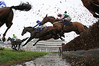 Horses and jockeys take the water jump during the Colin Ruck-Nightingale Memorial Novices Handicap Chase  - Horse Racing at Newbury Racecourse, Berkshire