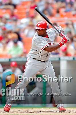 4 September 2005: Ryan Howard, first baseman for the Philadelphia Phillies, at bat against the Washington Nationals. The Nationals defeated the Phillies 6-1 at RFK Stadium in Washington, DC. Mandatory Photo Credit: Ed Wolfstein.