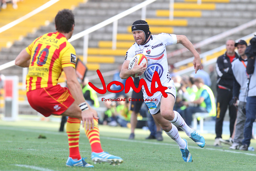 2014.04.19 Barcelona, Spain. Top 14. Usap v Toulon at Estadi Olimpic de BArcelona. Picture show MAtthew Giteau in action