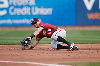 Altoona Curve third baseman Hunter Owen (10) fields a ground ball during an Eastern League game against the Erie SeaWolves and on June 4, 2019 at UPMC Park in Erie, Pennsylvania.  Altoona defeated Erie 3-0.  (Mike Janes/Four Seam Images)