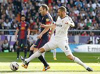 Real Madrid's Karim Benzema (r) and FC Barcelona's Andres Iniesta during La Liga match.March 02,2013. (ALTERPHOTOS/Acero) /NortePhoto