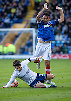 Joe Jacobson of Wycombe Wanderers and Gary Roberts of Portsmouth during the FA Cup 1st round match between Portsmouth and Wycombe Wanderers at Fratton Park, Portsmouth, England on the 5th November 2016. Photo by Liam McAvoy.