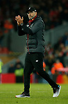 Jurgen Klopp manager of Liverpool applauds the fans  during the UEFA Champions League match at Anfield, Liverpool. Picture date: 27th November 2019. Picture credit should read: Andrew Yates/Sportimage