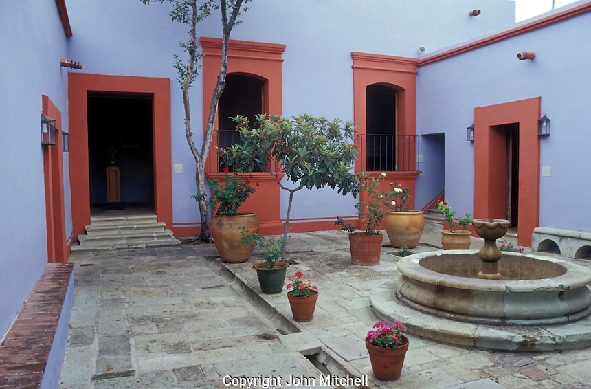 Interior courtyard of the Museo Casa de Juarez in Oaxaca city, Mexico.
