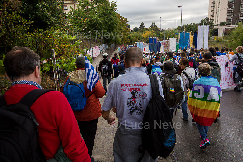 """Perugia - Assisi (Umbria, Italy), 07/10/2018. Today, tens of thousands of people (100,000+ people and 15 km long procession for the organisers) attended the """"Marcia Perugia - Assisi della Pace e della Fraternità"""" (March Perugia - Assisi for Peace and Brotherhood/Sisterhood-Fraternity). This historical event of about 25 km was launched by the Italian Philosopher and Anti-fascist Aldo Capitini (1.) in 1961 to fight for Peace and Brotherhood of Peoples, and against racism, violence and injustice. Flavio Lotti, one of the organiser and coordinator of the event stated: """"We are calling for the 'Riace's Model' (2.) for the Nobel Peace Prize. We are not referring to people in particular and we do not want to personalize the issue, but as the organizing committee of the march we propose the the next Nobel [Peace Prize] be given to a model of reception, integration and solidarity which helps and works for everyone and responds to the values to which the march it has always been inspired"""" (Source - Il Fatto Quotidiano, https://bit.ly/2NHyfZM). The March in 2018 marked the 70th anniversary of the Universal Declaration of Human Rights, the 100th anniversary of the end of the World War I and the 50th anniversary of the death of Aldo Capitini (19 October 1968), the man who launched in 1961 the first edition of the March Perugia - Assisi. <br /> <br /> 1. https://en.wikipedia.org/wiki/Aldo_Capitini<br /> 2. Please check my Stories about Riace (Calabria) here: <br /> 04.08.18 Riace Città Dell'Accoglienza: All Human Beings Are Welcome Here https://bit.ly/2Dw5yiK<br /> 02.10.18 Support & Solidarity With Mayor of Riace Domenico Lucano https://bit.ly/2yhDryV <br /> For more info about the event & organisers click here: http://www.perugiassisi.org/ & http://www.perlapace.it/ & https://bit.ly/2CcbkE5 & https://bit.ly/2OlEJTo & https://bit.ly/2yERlKH & https://bit.ly/2yfPtc0 & https://bit.ly/2CIYZIt<br /> Videos by 'Per La Pace' on Youtube: https://bit.ly/2OnXTrL"""