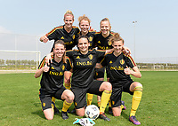 20180306 - LARNACA , CYPRUS :  Belgian winning team of the day  pictured with Justine Vanhaevermaet , Charlotte Tison , Sarah Wijnants , Nicky Van Den Abbeele , Nicky Evrard and Yana Daniels (r) during a Matchday -1 training from The Belgian Red Flames prior to their game against South Africa , on tuesday 6 March 2018 at the Alpha Sports Grounds in Larnaca , Cyprus . This will be the final game for Belgium during the Cyprus Womens Cup for a battle for the 5th place , a prestigious women soccer tournament as a preparation on the World Cup 2019 qualification duels. PHOTO SPORTPIX.BE | DAVID CATRY