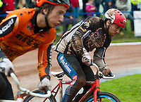 31 AUG 2015 - IPSWICH, GBR - Myke Grimes (right) of Sheffield Stars races Paul Heard (left)  of Wednesfield during a heat at the British Cycle Speedway Championships at Whitton Sports and Community Centre in Ipswich, Suffolk, Great Britain (PHOTO COPYRIGHT © 2015 NIGEL FARROW, ALL RIGHTS RESERVED)