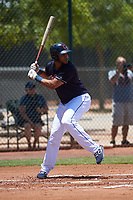 AZL Indians Blue Cristopher Cespedes (17) at bat during an Arizona League game against the AZL Indians Red on July 7, 2019 at the Cleveland Indians Spring Training Complex in Goodyear, Arizona. The AZL Indians Blue defeated the AZL Indians Red 5-4. (Zachary Lucy/Four Seam Images)