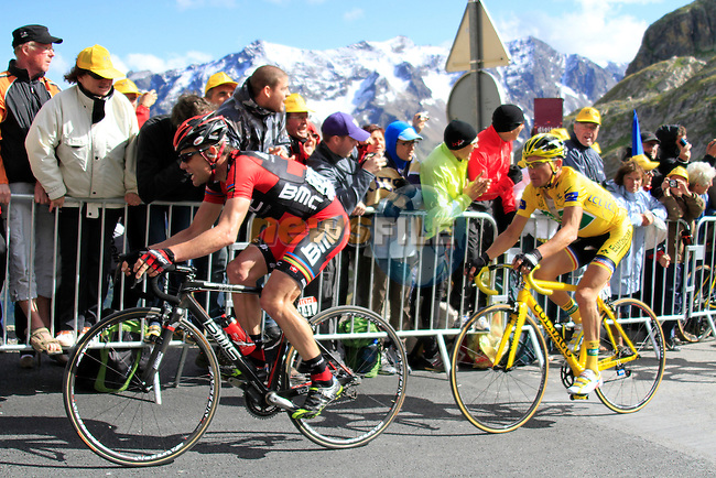Cadel Evans (AUS) BMC Racing and Yellow Jersey holder Thomas Voeckler (FRA) Team Europcar near the summit finish on Col du Galibier of Stage 18 of the 2011 Tour de France from Pinerolo, Italy to Galibier Serre-Chevalier, 21st July 2011 (Photo by Steven Franzoni/NEWSFILE)