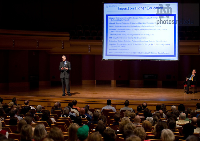 Executive Vice President John Affleck-Graves speaks at a Town Hall Meeting at the DeBartolo Performing Arts Center, Sept. 16, 2009...Photo by Matt Cashore/University of Notre Dame