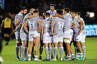 The Bath Rugby team huddle together at half-time. Aviva Premiership match, between Newcastle Falcons and Bath Rugby on January 6, 2017 at Kingston Park in Newcastle upon Tyne, England. Photo by: Patrick Khachfe / Onside Images
