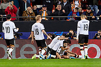 27th November 2019; Mestalla, Valencia, Spain; UEFA Champions League Footballl,Valencia versus Chelsea; Carlos Soler of Valencia CF celebrates with his team mates after scoring in minute 40' the first goal for his team (1-0)