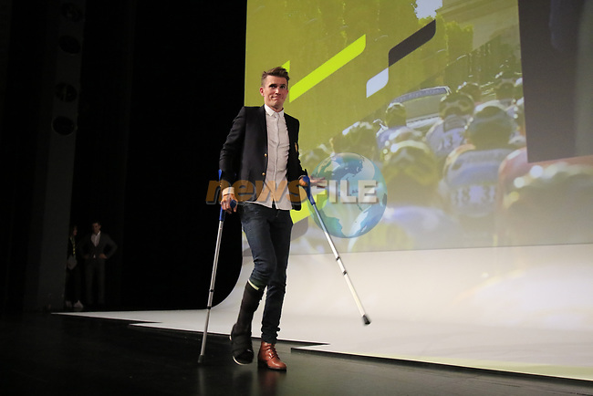 Yoann Offredo (FRA) introduced on stage at the Tour de France 2020 route presentation held in the Palais des Congrès de Paris (Porte Maillot), Paris, France. 15th October 2019.<br /> Picture: Eoin Clarke   Cyclefile<br /> <br /> All photos usage must carry mandatory copyright credit (© Cyclefile   Eoin Clarke)