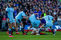 8th March 2020; Murrayfield Stadium, Edinburgh, Scotland; International Six Nations Rugby, Scotland versus France; Francois Cros of France tackles Grant Gilchrist of Scotland and gets a yellow card