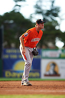 Aberdeen IronBirds third baseman Collin Woody (48) during a game against the Batavia Muckdogs on July 15, 2016 at Dwyer Stadium in Batavia, New York.  Aberdeen defeated Batavia 4-2.  (Mike Janes/Four Seam Images)