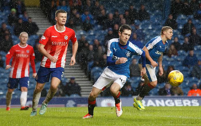 Ryan Hardie battling up front for Rangers