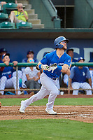 Andrew Shaps (14) of the Ogden Raptors at bat against the Grand Junction Rockies at Lindquist Field on July 23, 2019 in Ogden, Utah. The Raptors defeated the Rockies 11-4. (Stephen Smith/Four Seam Images)