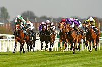 Winner of The West Berkshire Brewery Newcomers' EBF Maiden Stakes   Highland Chief ridden by Raul Da Silva and trained by Cole Whatcombe during Racing at Newbury Racecourse on 12th April 2019