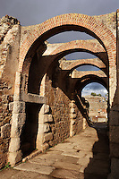 Principal access to the roman amphiteatre dated 8 BC, Merida (Augusta Emerita, Capital of Hispania Ulterior), Extremadura, Spain