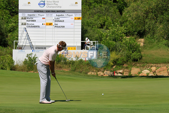 Ian Poulter (ENG) putts on the 13th green during the morning Semi-Final session on the Final Day of the Volvo World Match Play Championship in Finca Cortesin, Casares, Spain, 22nd May 2011. (Photo Eoin Clarke/Golffile 2011)